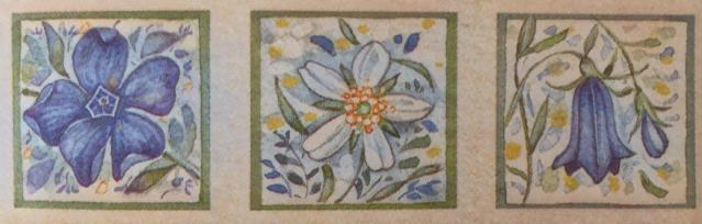 quadrinhos de flores azuis